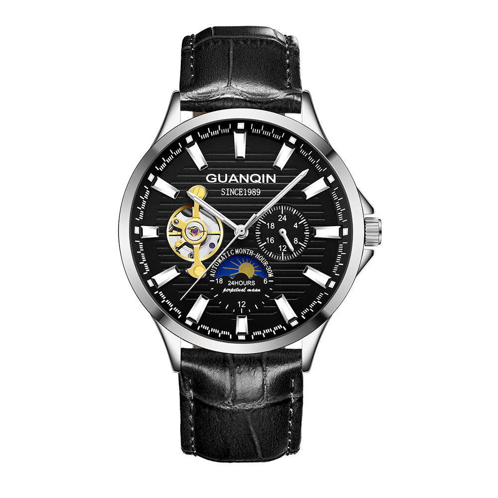 HTB1OP8eKA9WBuNjSspeq6yz5VXab GUANQIN 2019 new watch men waterproof Automatic Luminous men watches top brand luxury skeleton clock men leather erkek kol saati