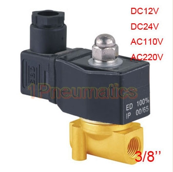 Free Shipping New 3/8 Thread Brass Water Solenoid Valve 12VDC Electric Air Water Gas Diesel Fuel DIN43650A Coil 2W040-10-D pneumatic gas water oil valve solenoid coil ac 220v connector plug 3 din43650a inner hole diameter 16mm high 43mm