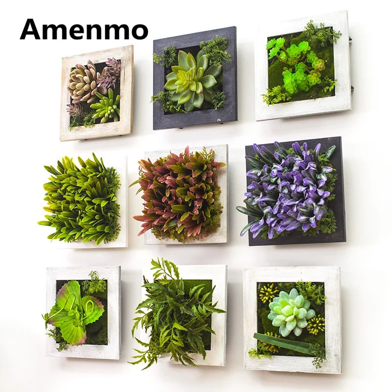Amenmo home decoration modern artificial plants wall mural artificial Simulation Succulents garden decoration wedding gift