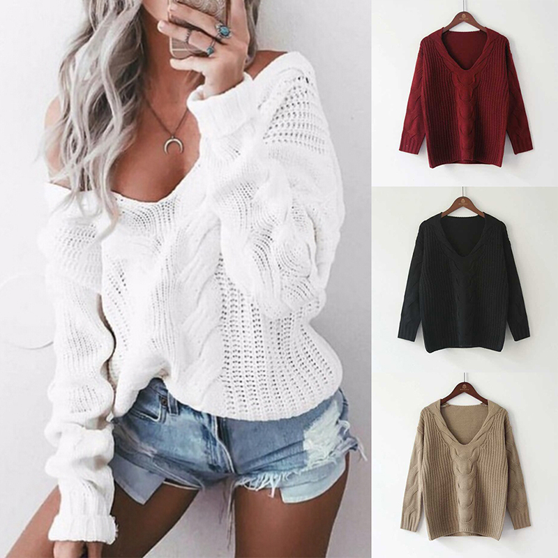 Sporting Frauen Winter Gestrickte Pullover Herbst Chunky Knit Pullover Pullover Sexy Tiefe V Hals Langarm Jumper