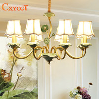 American Full Copper LED Chandeliers European Ceramic Living Room Lamps French Pastoral Country Bedroom Restaurant Luxurious