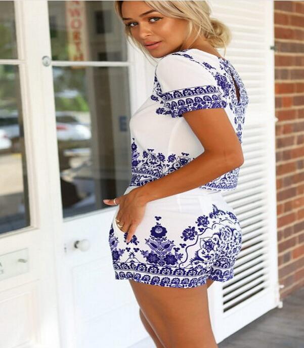 Women Retro Vintage Tile Prints Blue White Porcelain Pattern Short Sleeve Crop Top And Shorts Set