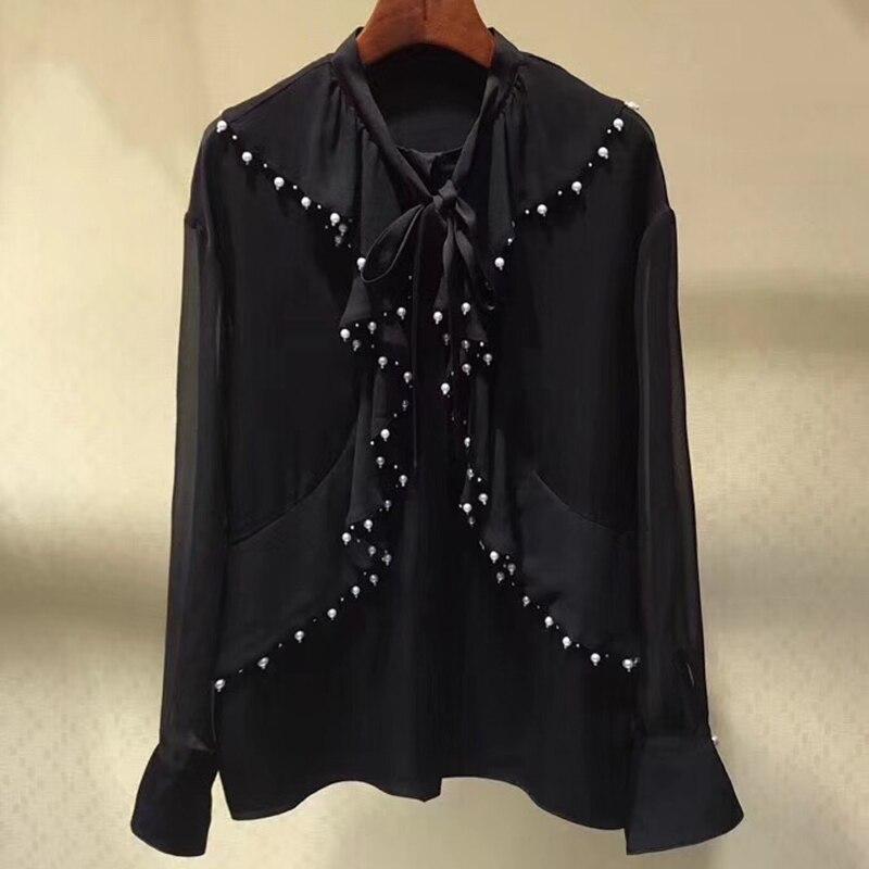 Для женщин блузки 2019 модная одежда с длинными рукавами дважды слойный воротник шифоновая блузка рубашка повседневная, рубашка, блуза Femininas