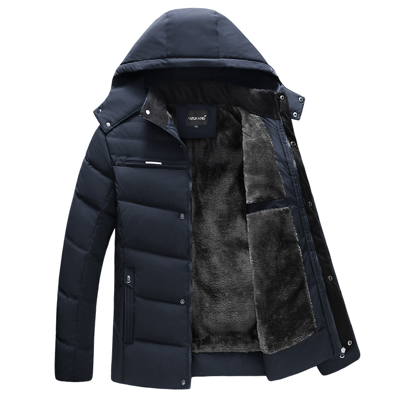 Winter thick down jacket hooded men feather jacket men's hooded padded cotton detachable plus size velvet hooded jacket(China)