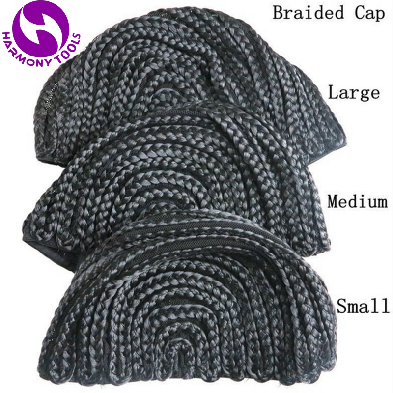 1 Piece Black Braided Cap For Crochet Synthetic Braiding Wigs and Weave with 3 different size for your choice