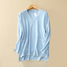 Women's 100% real cashmere sweater double pockets decor winter loose pullover solid color with V-neck white stripe hem