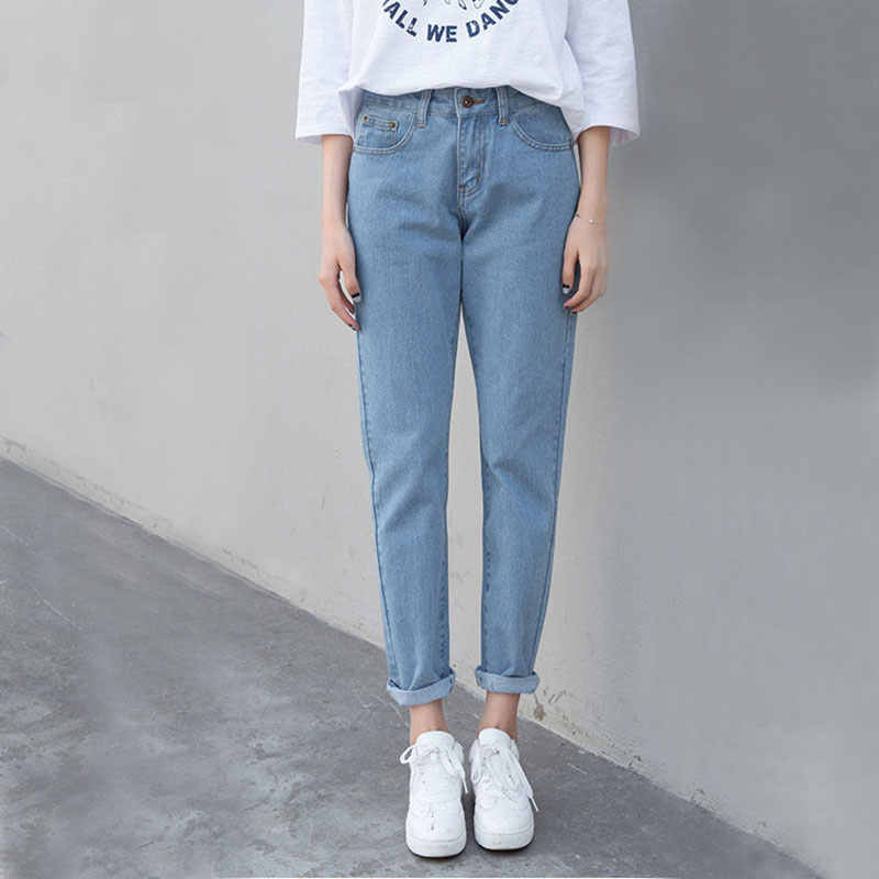 Boyfriend Style Ripped Jeans For Women High Waist Casual Denim Jeans Female Streetwear Harem Pants Ankle-length Trousers P022