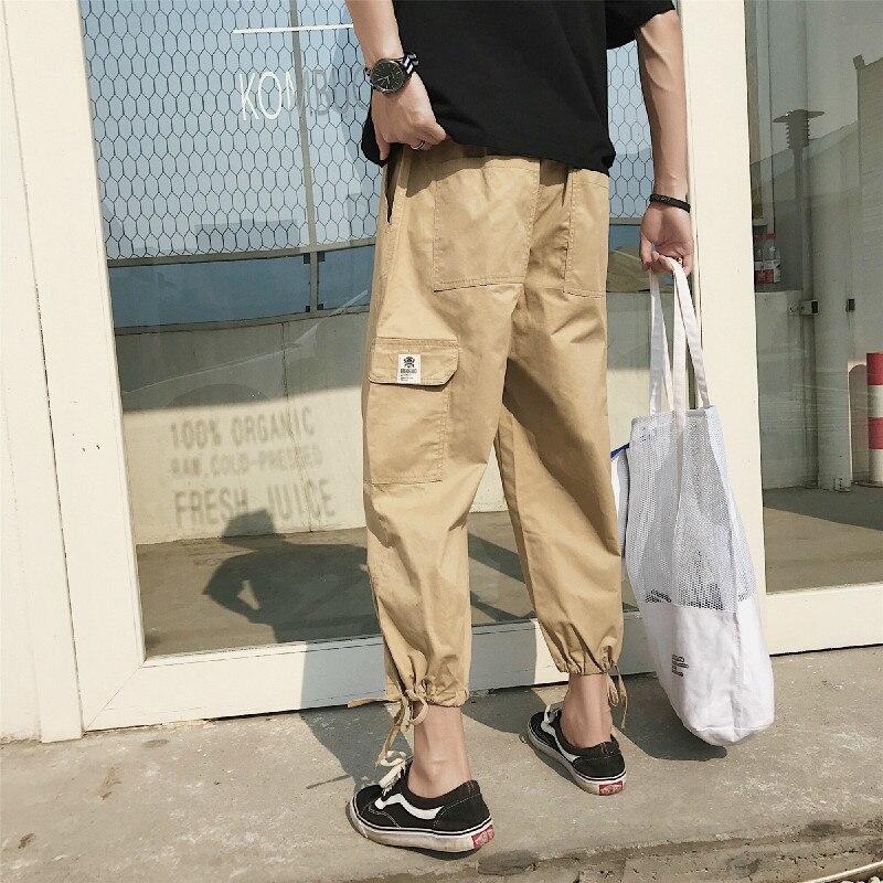 2018 Summer Wear Man Leisure Time Nine Part Pants Bound Feet Haren black gray and khaki Fashion Favourite Free shipping