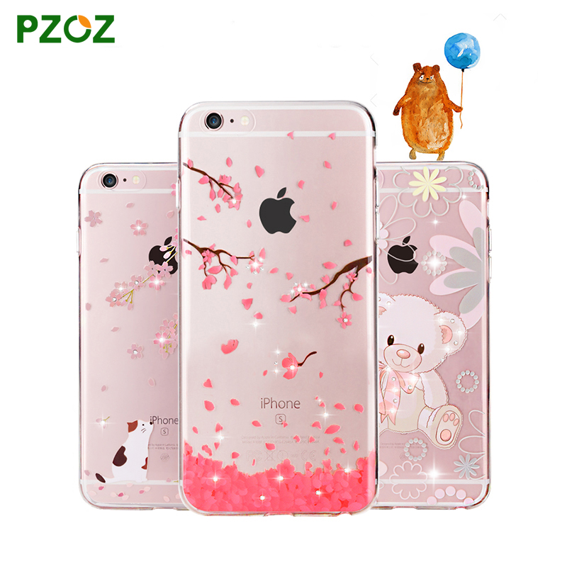 PZOZ For iphone 6 Case Original For iphone 6s Plus Case Silicone Cover Luxury Rhinestone Glitter Cute Crystal Diamond Soft Shell