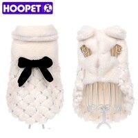 HOOPET Pet Clothes Elegant Luxury Pearl Fur Winter Overcoat Samll Dog Cat Clothes Bowknot Chihuahua