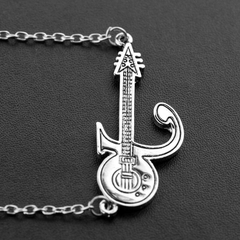 Punk Prince Love Symbol Necklace Guitar Silver Color Prince Purple