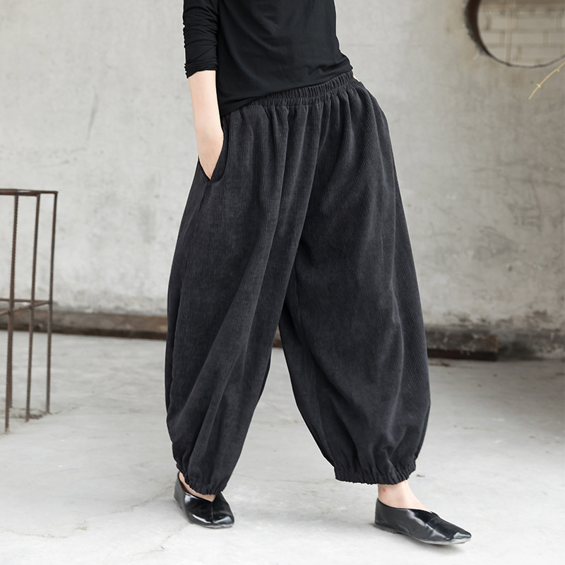 Johnature Corduroy   Wide     Leg     Pants   For Women 2019 Spring New Elastic Waist Casual Trouser Solid Color Loose Pockets Women   Pants