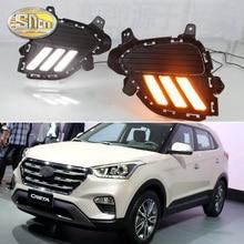 купить DRL For Hyundai Creta IX25 2017 2018 LED Daytime Running Light South American version fog DRL with yellow turning signal lamp дешево