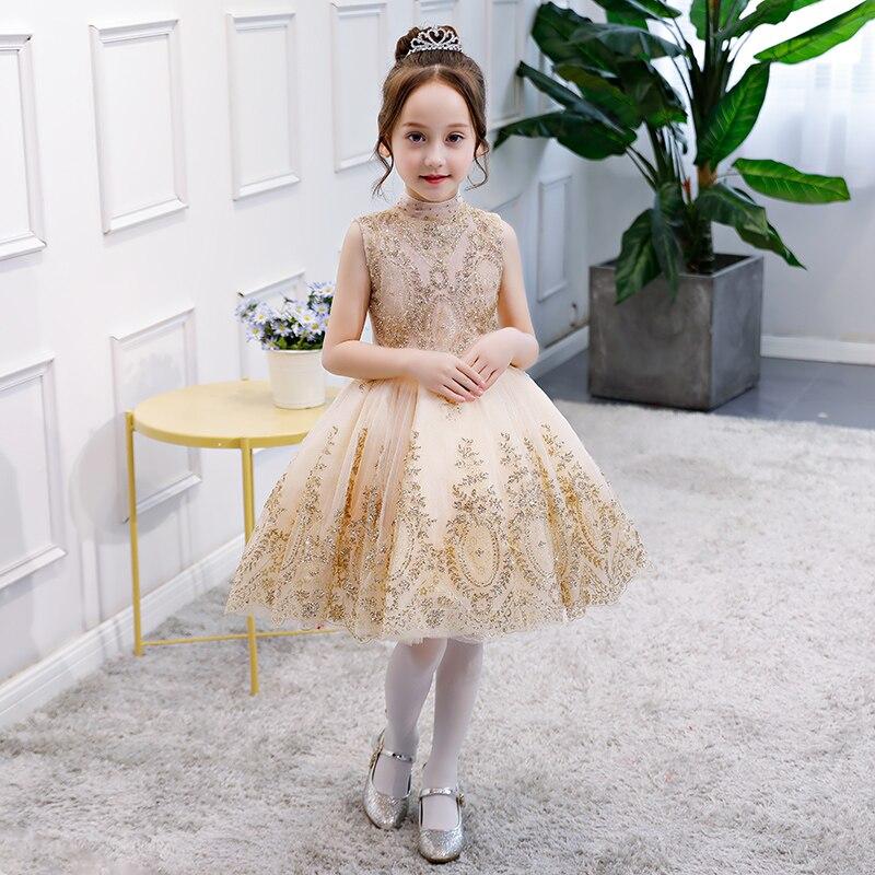 Glizt Sequin Girl Summer Dress Flower Girl Wedding Dresses Lace Girl Party Princess Birthday Dress Kids
