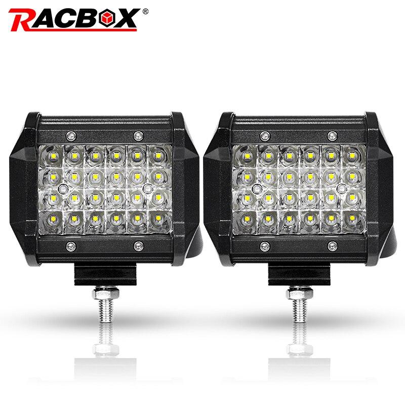 RACBOX Pair Slideable 4 inch LED Work Light Bar Qual Row 72W Spot 12V 24V Off Road 4WD ATV UTV Motorbike 4 LED Driving Lamp