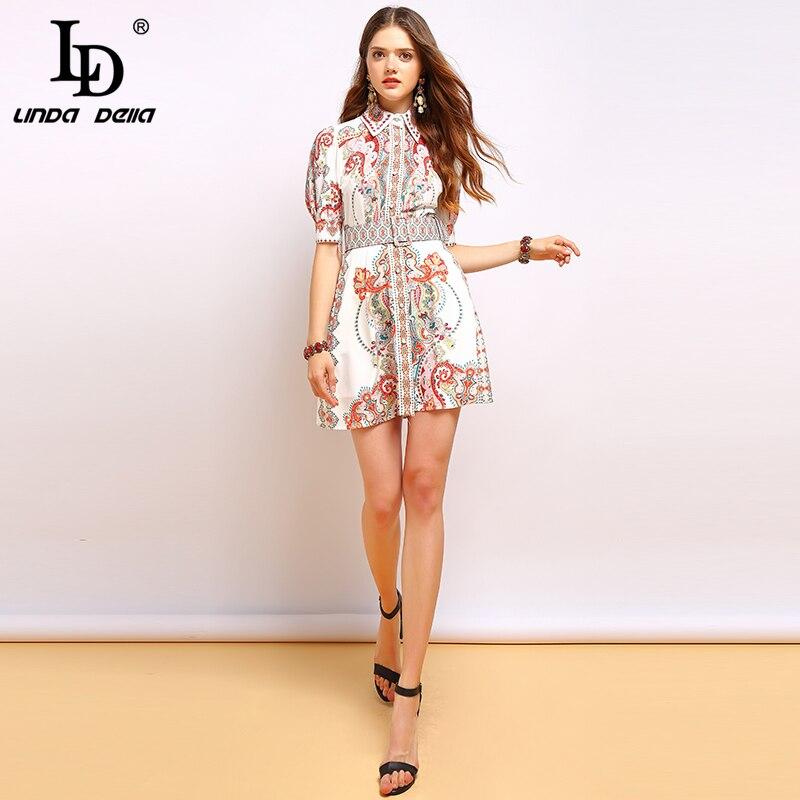 LD LINDA DELLA Fashion Runway Summer Dress Women's Lantern Sleeve Gorgeous Print Beading Belted Elegant Mini Vintage Dress