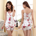 Ropa de Dormir Sexy Pijama de Señora Women Impreso Floral Pijamas Batas de Dormir Tirantes Camisetas Shorts Ropa Interior Set Pijama Feminino