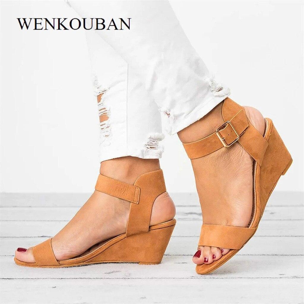 Sandals Women Wedges Shoes Female Summer High Heel Buckle Strap Ladies Pumps Casual Peep Toe Gladiator sandalias Mujer 2019