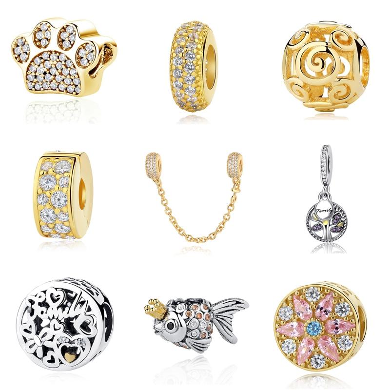 Original 925 Sterling Silver Bead Charm Hängsmycke Säkerhetskedja Crystal Charms Shine Gold Color Fit Pandora Armband DIY Smycken