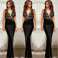New European Sexy Club Dress Fashion Women Black Evening Lace Dress Sleeveless Gauze Lace Patchwork Long Maxi Celebrity Clubwear
