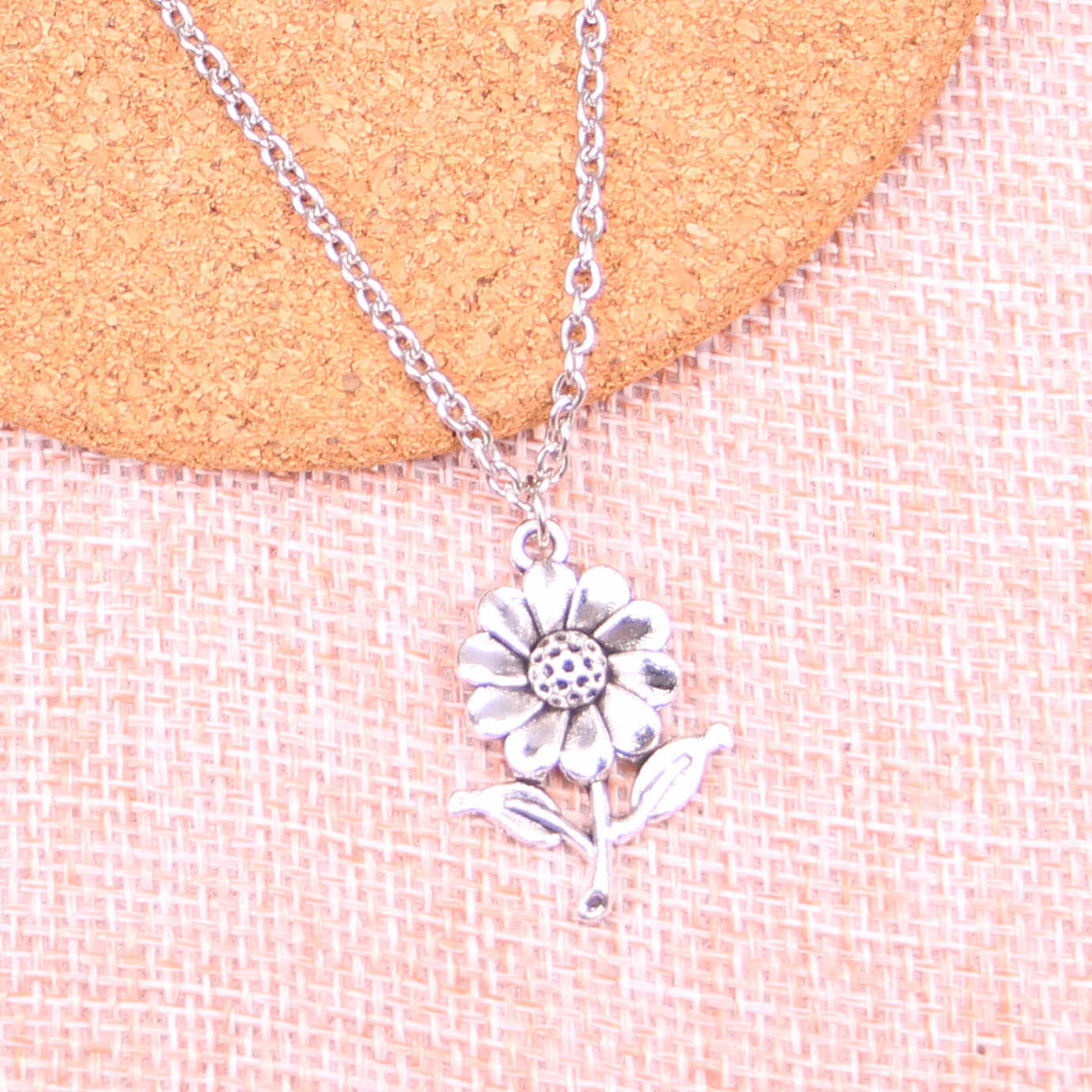 Fashion Antique Silver Color 27*20mm sunflower flower Pendant Necklace,Handmade Necklace Dropship Suppliers