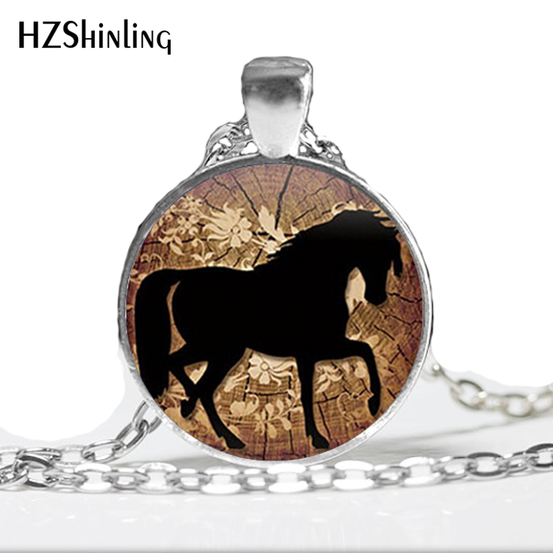 HZ--A116 Vintage dancing black Prancing Horse Handmade Pendant Necklace Country Western Jewelry girl Valentine's D gifts HZ1