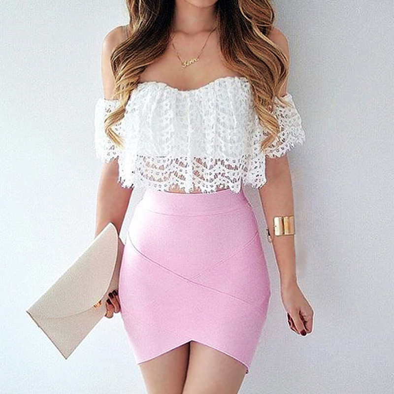 Short Skirt High-Waist Cotton Summer Work White Solid Pencil Street-Style