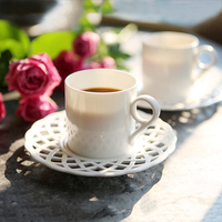 Nordic Bone China Coffee Cups and Saucers Exquisite hollow Coffee Cup tea cup Afternoon tea cup Home Drinkware