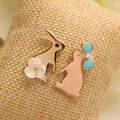 Ajojewel Cartoon Funny Bunny Earrings With Shell Flower Women Ear Studs Candy Colored Rabbit Jewelry Christmas Gift For Girls