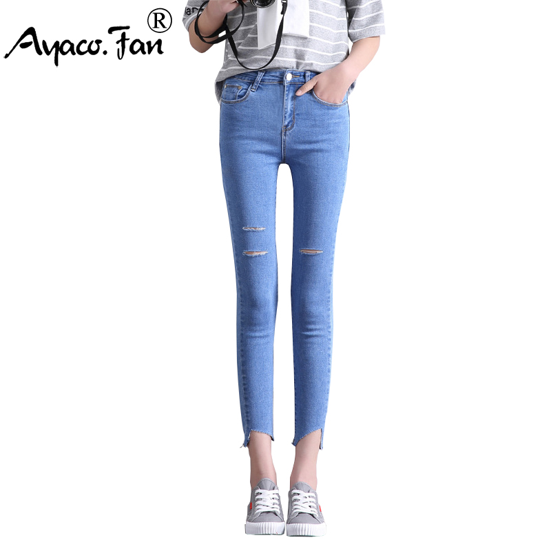 Women Ankle-Length Holes Black Jeans 2017 Spring Autumn Students Stretch Skinny Female Slim Pencil Pants Denim Ladies Trousers spring summer autumn ladies full length jeans students stretch skinny female slim pencil pants denim ladies trousers yn301