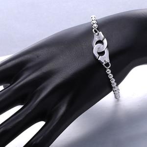 Image 4 - Moonmory Frankrijk Populaire 925 Sterling Zilveren Handboeien Armband Voor Vrouwen Vele Zilveren Kralen Chain Handboeien Armband Menottes