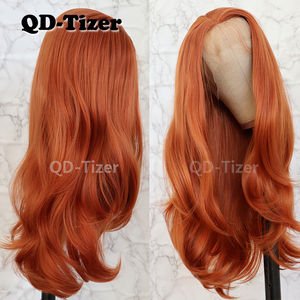 Image 3 - QD Tizer Natural Wavy Hair Orange Color High Temperature Fiber Heat Resistant Synthetic Lace Front Wigs For Women