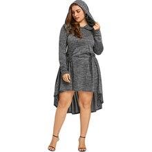 1489324bd67 Gamiss Women Dress Plus Size Cutwork Hooded Long Sleeve Dip Hem Dresses  Casual Spring Knee-