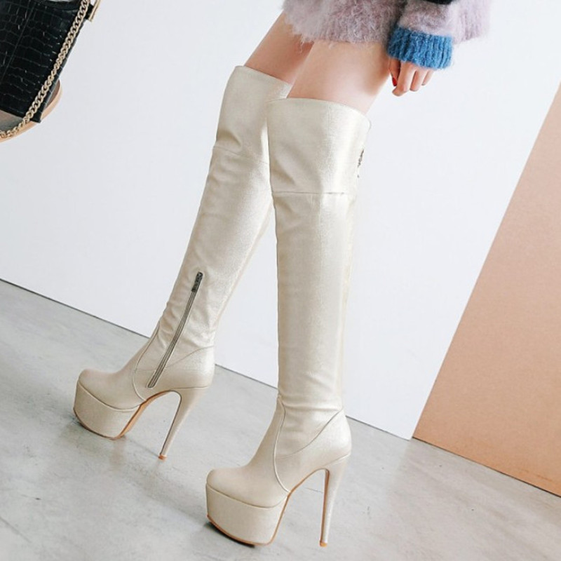 Large Size 43 Thigh High Boots Women Shoes Sexy High Heels Winter Boots Stiletto Heel Over The Knee Boots Platform Shoes Woman