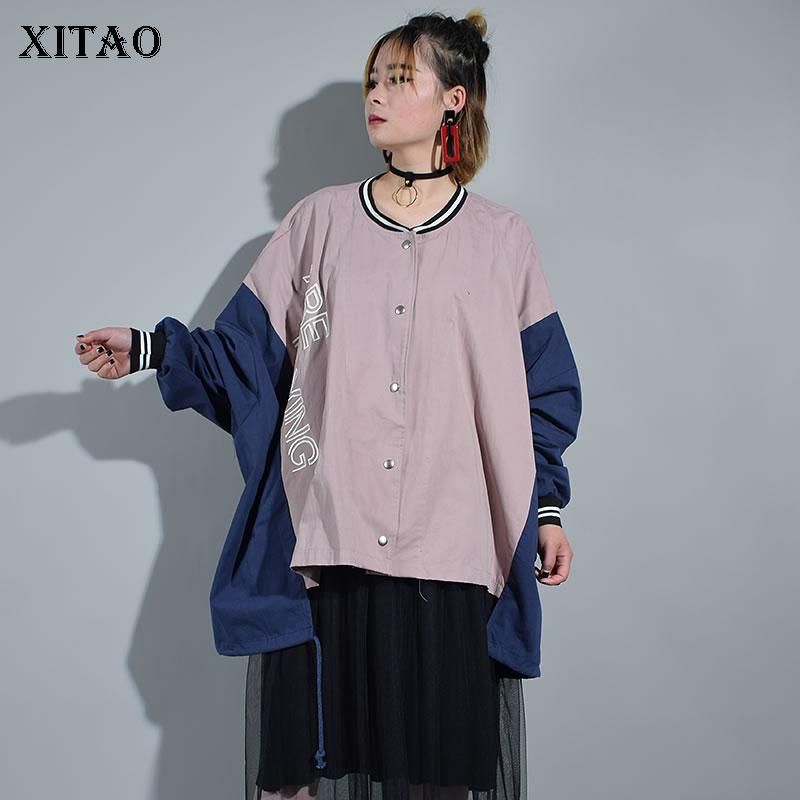 XITAO 2018 Korea New Autumn Fashion Women Stand Collar Single Breasted Coats Female Batwing Sleeve