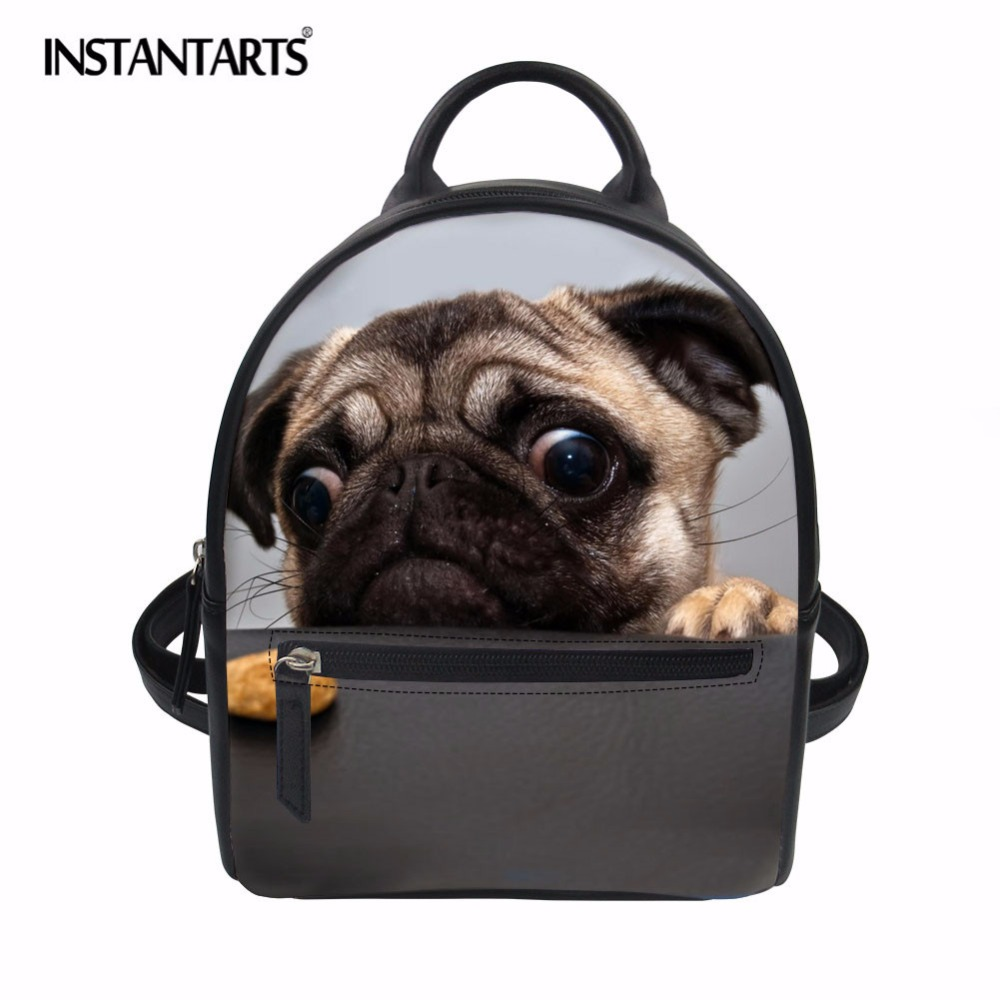 INSTANTARTS 3D Pug Dog Small Women Backpack Animal Print Female Travel Back Pack for Teenage Girl Daily Use Mini Daypack Mochila