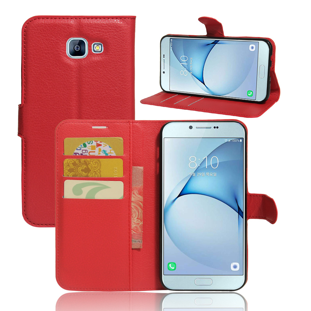 Wallet PU Leather Case For Samsung Galaxy A8 2016 Flip Stand Phone Bag With Card Holders Cover For Samsung A8 Coque Fashion Rose