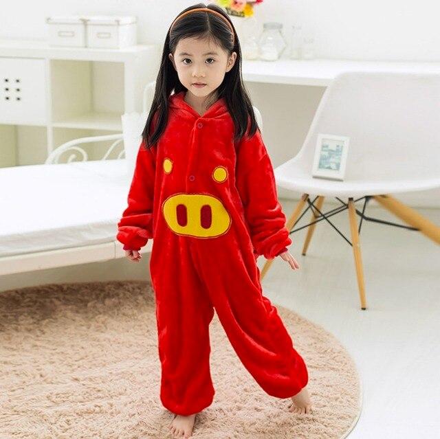 8cf530f537 Kids Baby Boys Girls Red Pig Onesies Pajamas Flaneel Fleece Winter Cartoon  Sleepwear Pyjamas 2016 Carnival Halloween Costumes