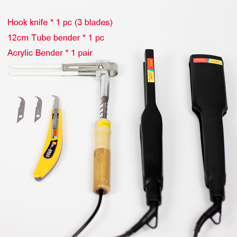 Acrylic Bender PVC Channel Letter Hot Bending Machine Arc/Angle Shape Bender Tool 1 Pair+Hook Knife+12cm Tube Bender(220V)