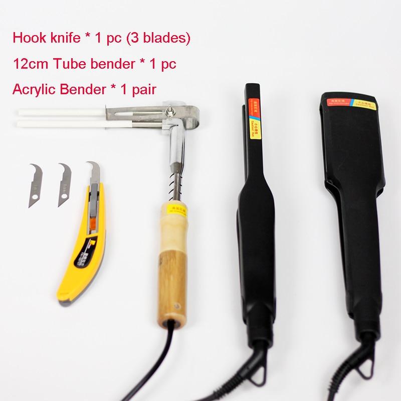 Acryl Bender PVC Channel Letter Hot Buigmachine Arc / Hoekvorm Bender Tool 1 paar + Haakmes + 12cm Tube Bender (220V)