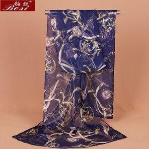 Chiffon silk scarf shawl schal scarves hijab winter schal poncho women scarfs ethnic luxury ladies chain print wape accessories(China)