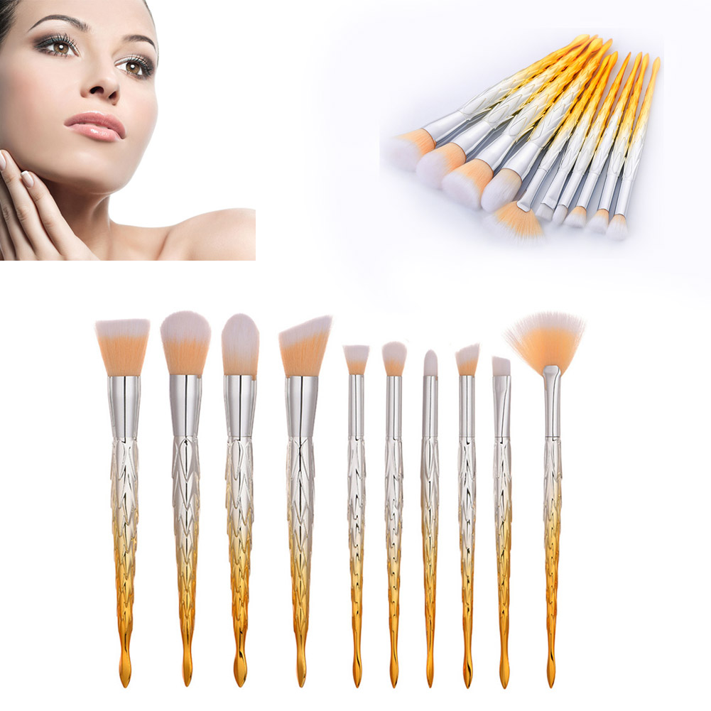 2018 New Hot 10Pcs Professional Unique Fishtail Shape Makeup Brushes Set Eye Shadow Eyebrow Lip Blusher Cosmetic Brush Kit Tools