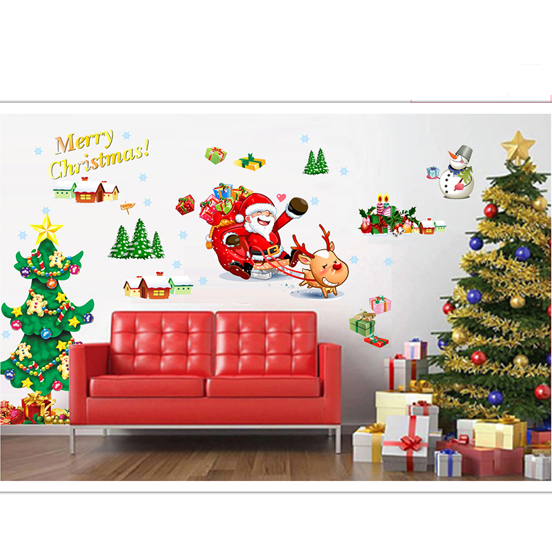 New Santa Claus Christmas Tree Vinly Big Wall Sticker For Kids Rooms Home  Decor Poster Adhesive Gift Art Decal For Window Glass