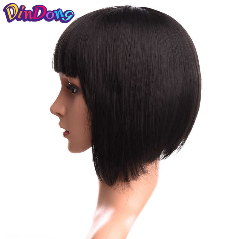 Dindong Synthetic Short Straight Blue Pink Bob Wigs Flat Bangs Heat Resistant Fiber Cosplay Party Wig Girl Child Sweet Role Play