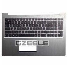 GZEELE Korean KR Laptop Keyboard bezel For ASUS ZenBook UX51 UX51VZ U500VZ BX51VZ Palmrest Top Cover UPPER CASE silver color