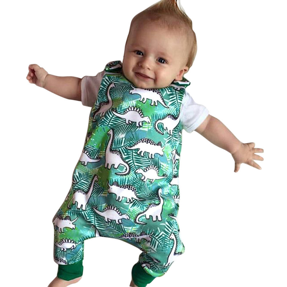 New Cute Casual Newborn Infant Baby sleeveless Cartoon Dinosaur Onesies Print   Romper   Jumpsuit Outfits Soft baby clothes Green