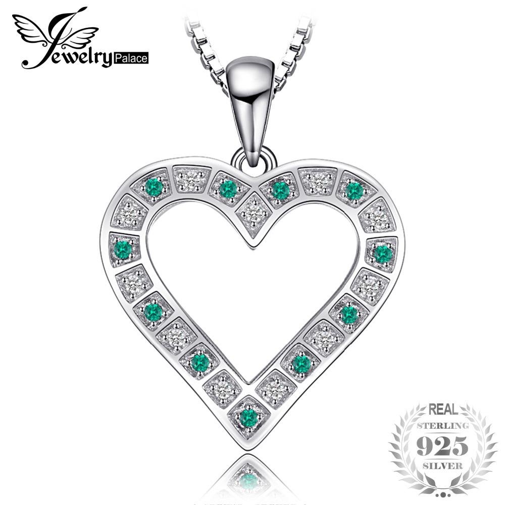 Jewelrypalace high quality created emerald heart pendant 925 jewelrypalace high quality created emerald heart pendant 925 sterling silver women fashion fine jewelry not include the chain in pendants from jewelry aloadofball Images
