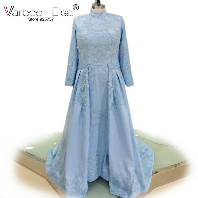 newest d5cef e8840 US $112.0 30% OFF|VARBOO_ELSA 2018 Mutter der braut Kleid Hellblau Satin  Elegante Abendkleid Lange Ärmel Spitze Appliques Kleid  Benutzerdefinierte-in ...
