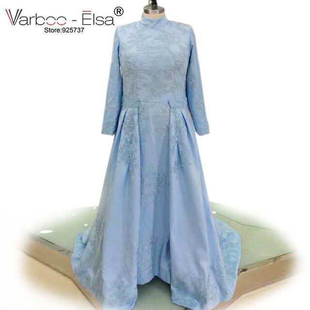 Lieblings VARBOO_ELSA 2018 Mutter der braut Kleid Hellblau Satin Elegante &BU_38