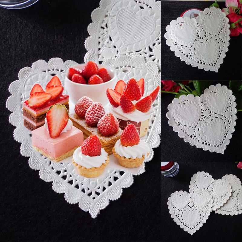 100 pcs 4 polegada 10 centímetros da Forma Do Coração Do Bolo do Papel Do Partido Doilies Coasters Placemat Artesanato Casamento Deco Mesa de Natal Do Vintage